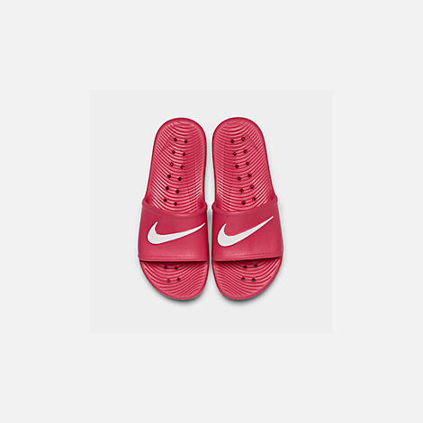 Back view of Girls' Nike Kawa Shower Slide Sandals in Rush Pink