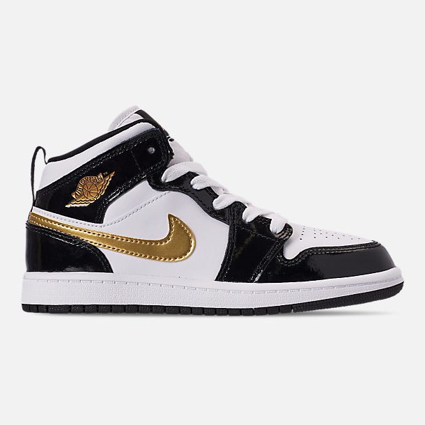 Right view of Boys' Little Kids' Air Jordan 1 Mid SE Casual Shoes in Black/Metallic Gold/White