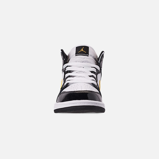 Front view of Boys' Little Kids' Air Jordan 1 Mid SE Casual Shoes in Black/Metallic Gold/White