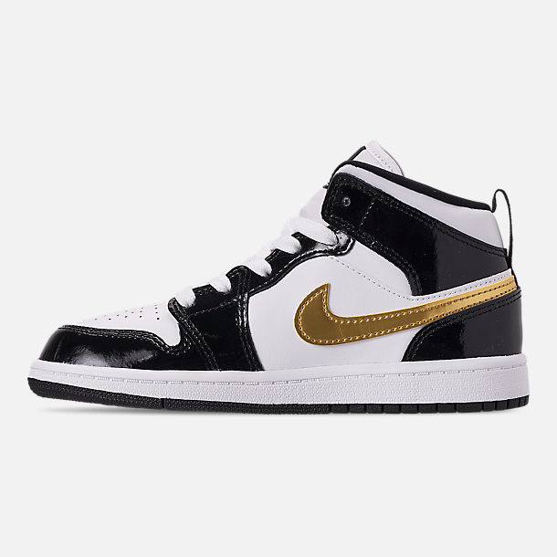 Left view of Boys' Little Kids' Air Jordan 1 Mid SE Casual Shoes in Black/Metallic Gold/White