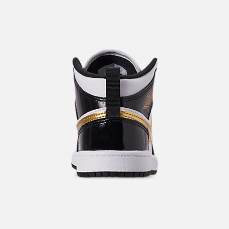Back view of Boys' Little Kids' Air Jordan 1 Mid SE Casual Shoes in Black/Metallic Gold/White