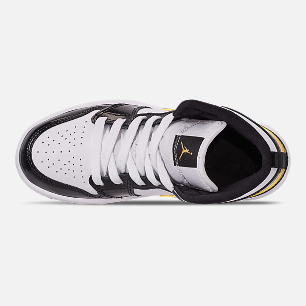 Top view of Boys' Little Kids' Air Jordan 1 Mid SE Casual Shoes in Black/Metallic Gold/White