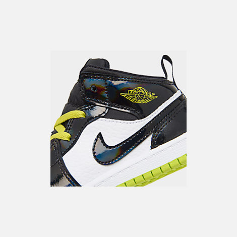 Front view of Boys' Toddler Air Jordan 1 Mid SE Casual Shoes in Black/Cyber White/Mystic Green