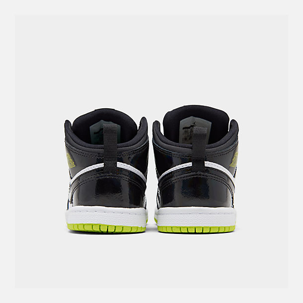 Left view of Boys' Toddler Air Jordan 1 Mid SE Casual Shoes in Black/Cyber White/Mystic Green