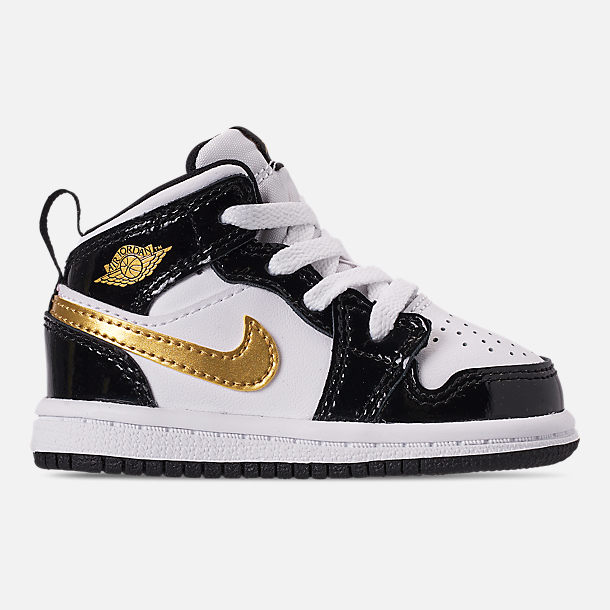 Right view of Boys' Toddler Air Jordan 1 Mid SE Casual Shoes in Black/Metallic Gold/White