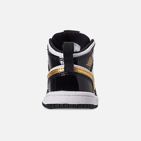 Back view of Boys' Toddler Air Jordan 1 Mid SE Casual Shoes in Black/Metallic Gold/White