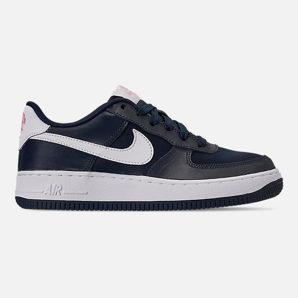 Right view of Girls' Big Kids' Nike Air Force 1 VDay Casual Shoes in Obsidian/White/Bleached Coral