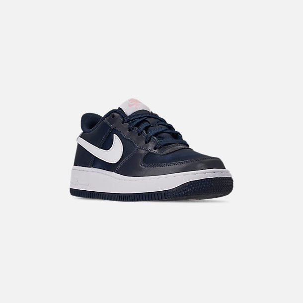 Three Quarter view of Girls' Big Kids' Nike Air Force 1 VDay Casual Shoes in Obsidian/White/Bleached Coral