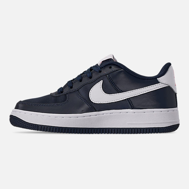 Left view of Girls' Big Kids' Nike Air Force 1 VDay Casual Shoes in Obsidian/White/Bleached Coral