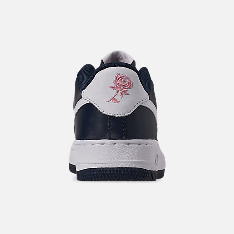 Back view of Girls' Big Kids' Nike Air Force 1 VDay Casual Shoes in Obsidian/White/Bleached Coral