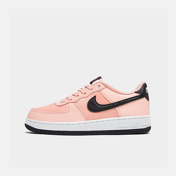 Right view of Girls' Big Kids' Nike Air Force 1 VDay Casual Shoes in Bleached Coral/Black/White
