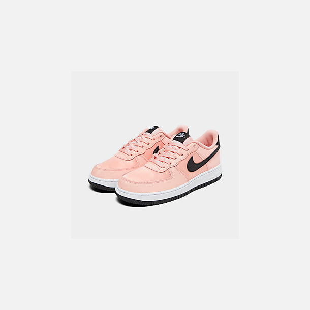 Three Quarter view of Girls' Big Kids' Nike Air Force 1 VDay Casual Shoes in Bleached Coral/Black/White