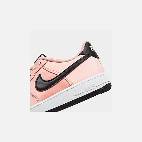 Front view of Girls' Big Kids' Nike Air Force 1 VDay Casual Shoes in Bleached Coral/Black/White