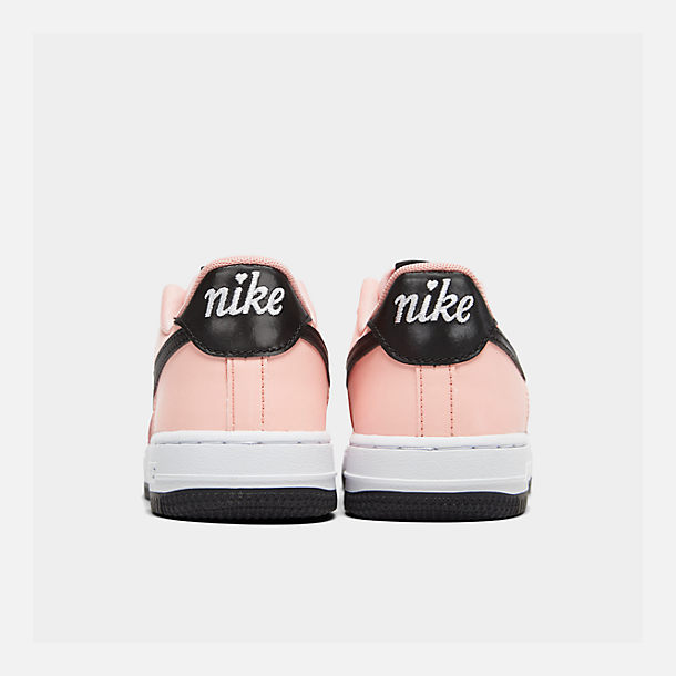 Left view of Girls' Big Kids' Nike Air Force 1 VDay Casual Shoes in Bleached Coral/Black/White