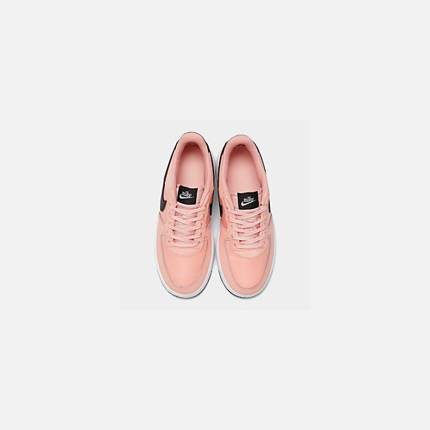 Back view of Girls' Big Kids' Nike Air Force 1 VDay Casual Shoes in Bleached Coral/Black/White
