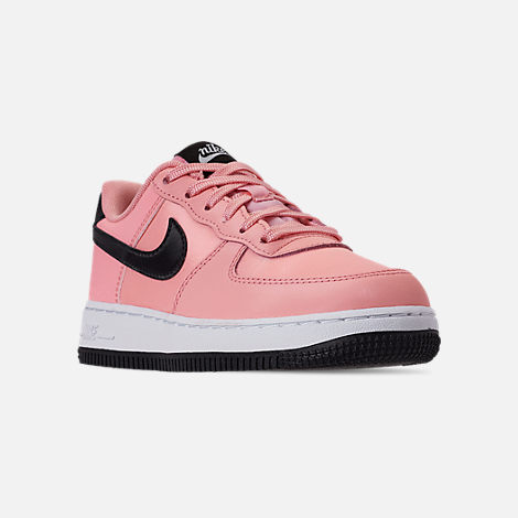 Three Quarter view of Girls' Little Kids' Nike Air Force 1 VDay Casual Shoes in Bleached Coral/Black/White
