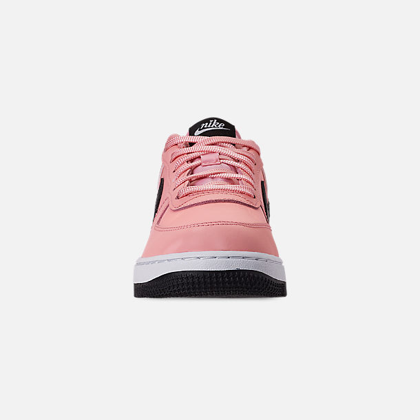 Front view of Girls' Little Kids' Nike Air Force 1 VDay Casual Shoes in Bleached Coral/Black/White