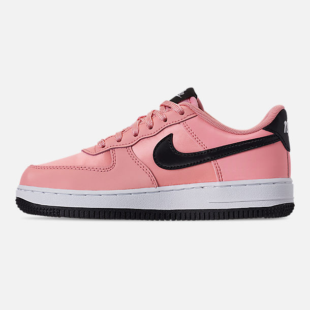 Left view of Girls' Little Kids' Nike Air Force 1 VDay Casual Shoes in Bleached Coral/Black/White