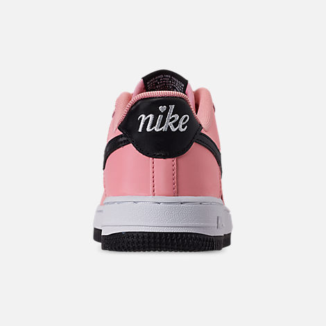 Back view of Girls' Little Kids' Nike Air Force 1 VDay Casual Shoes in Bleached Coral/Black/White