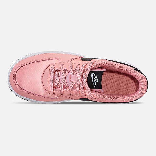 Top view of Girls' Little Kids' Nike Air Force 1 VDay Casual Shoes in Bleached Coral/Black/White