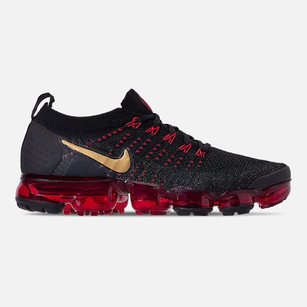 Right view of Men's Nike Air VaporMax Flyknit 2 Chinese New Year Running Shoes in Black/Metallic Gold/University Red