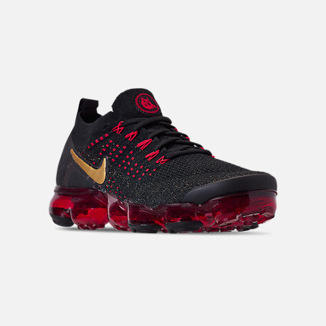Three Quarter view of Men's Nike Air VaporMax Flyknit 2 Chinese New Year Running Shoes in Black/Metallic Gold/University Red