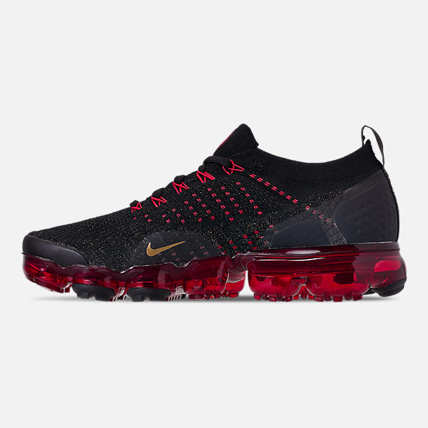 Left view of Men's Nike Air VaporMax Flyknit 2 Chinese New Year Running Shoes in Black/Metallic Gold/University Red