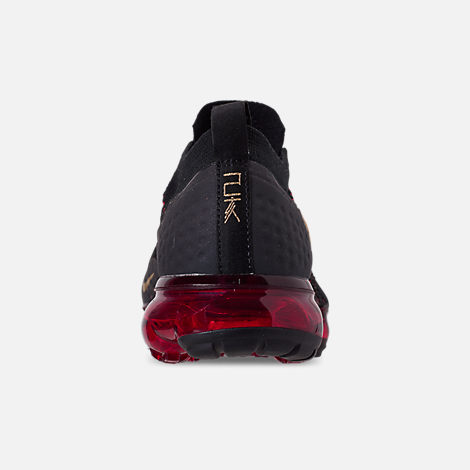 Back view of Men's Nike Air VaporMax Flyknit 2 Chinese New Year Running Shoes in Black/Metallic Gold/University Red