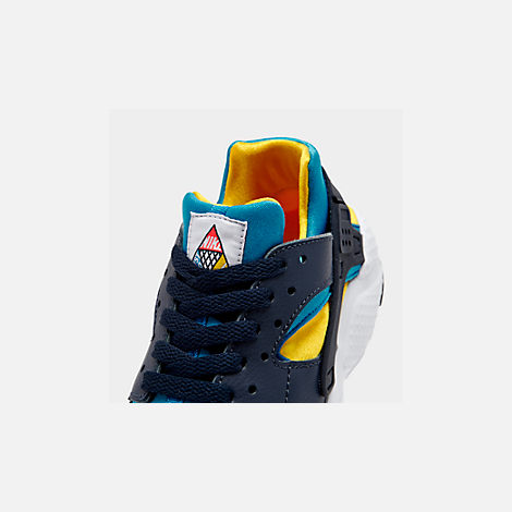 Front view of Boys' Big Kids' Nike Huarache Run Ultra Now Casual Shoes in Bright Crimson/Obsidian/Photo Blue