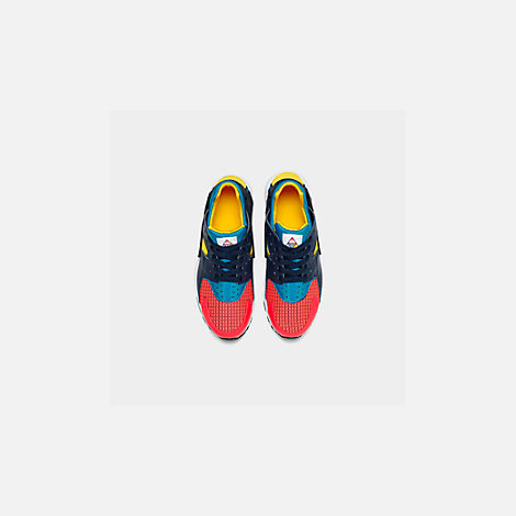 Back view of Boys' Big Kids' Nike Huarache Run Ultra Now Casual Shoes in Bright Crimson/Obsidian/Photo Blue