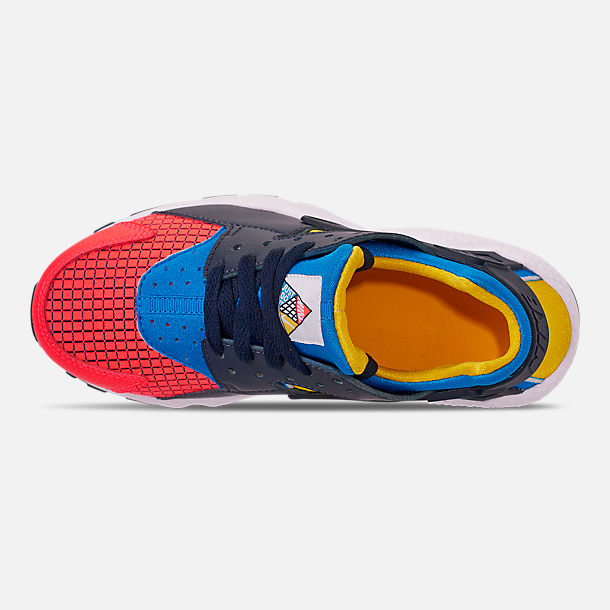 Top view of Boys' Big Kids' Nike Huarache Run Ultra Now Casual Shoes in Bright Crimson/Obsidian/Photo Blue