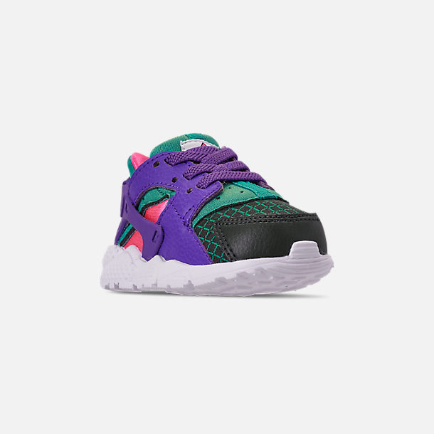 Three Quarter view of Kids' Toddler Nike Huarache Run Now Casual Shoes in Outdoor Green/Hyper Grape/Cabana