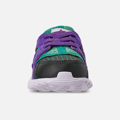 Front view of Kids' Toddler Nike Huarache Run Now Casual Shoes in Outdoor Green/Hyper Grape/Cabana