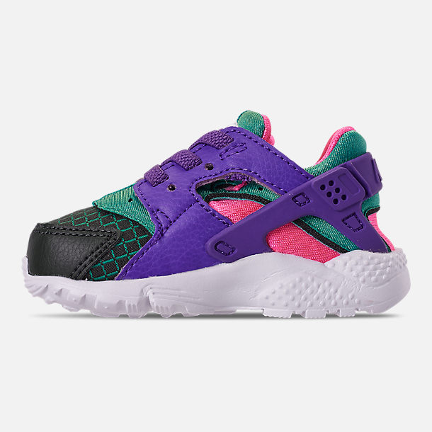 Left view of Kids' Toddler Nike Huarache Run Now Casual Shoes in Outdoor Green/Hyper Grape/Cabana