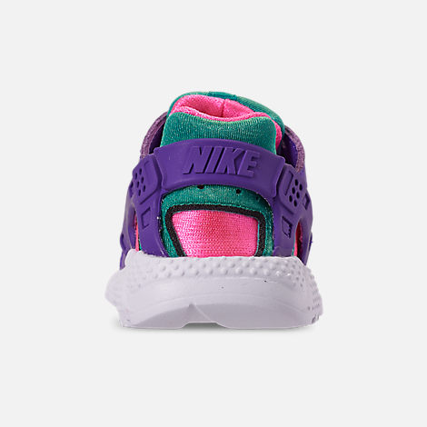 Back view of Boys' Toddler Nike Huarache Run Now Casual Shoes in Outdoor Green/Hyper Grape/Cabana