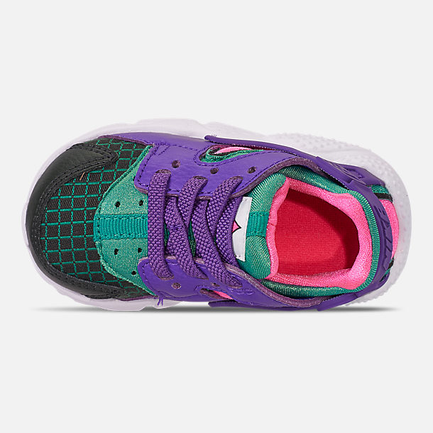 Top view of Kids' Toddler Nike Huarache Run Now Casual Shoes in Outdoor Green/Hyper Grape/Cabana