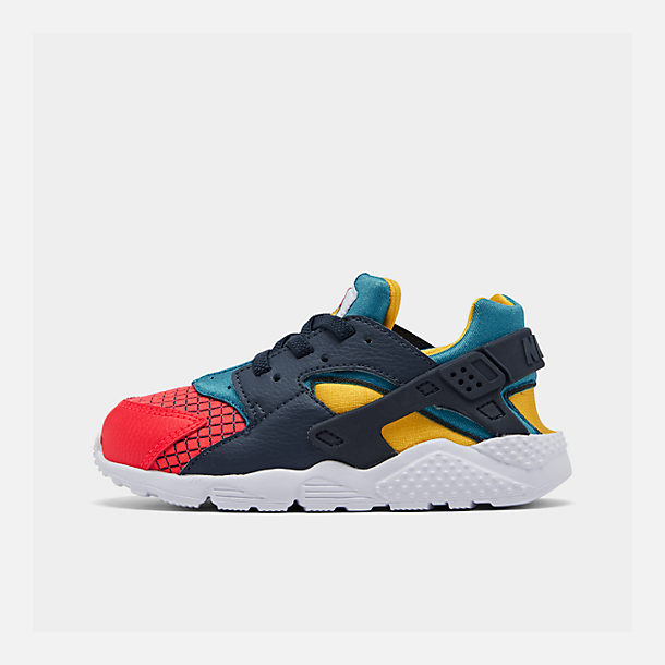 Right view of Kids' Toddler Nike Huarache Run Now Casual Shoes in Bright Crimson/Obsidian/Photo Blue