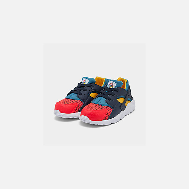 Three Quarter view of Kids' Toddler Nike Huarache Run Now Casual Shoes in Bright Crimson/Obsidian/Photo Blue