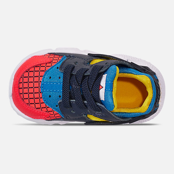 Top view of Kids' Toddler Nike Huarache Run Now Casual Shoes in Bright Crimson/Obsidian/Photo Blue