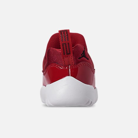 Back view of Boys' Toddler Air Jordan Retro 11 Little Flex Basketball Shoes in Gym Red/Black/White