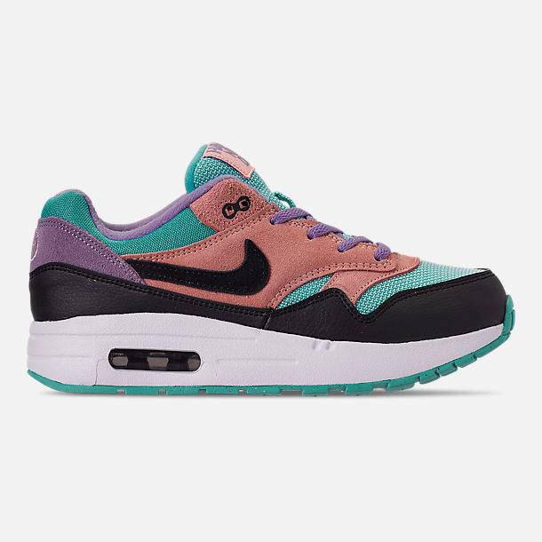 Right view of Little Kids' Nike Air Max 1 Casual Shoes in Black/White/Space Purple/Bleached Coral