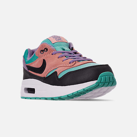 Three Quarter view of Little Kids' Nike Air Max 1 Casual Shoes in Black/White/Space Purple/Bleached Coral