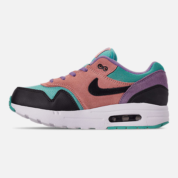 Left view of Little Kids' Nike Air Max 1 Casual Shoes in Black/White/Space Purple/Bleached Coral