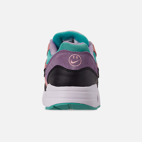 Back view of Little Kids' Nike Air Max 1 Casual Shoes in Black/White/Space Purple/Bleached Coral