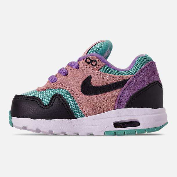 Left view of Kids' Toddler Nike Air Max 1 Casual Shoes in Black/White/Space Purple/Bleached Coral