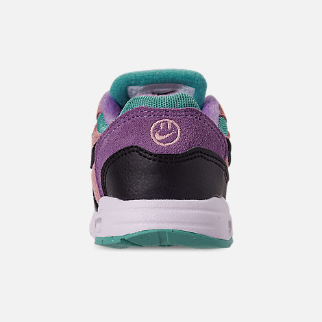 Back view of Kids' Toddler Nike Air Max 1 Casual Shoes in Black/White/Space Purple/Bleached Coral