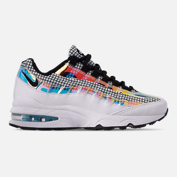 Right view of Boys' Big Kids' Nike Air Max 95 LV8 Casual Shoes in White/Black/Blue Gaze/Lime Blast