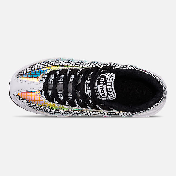 Top view of Boys' Big Kids' Nike Air Max 95 LV8 Casual Shoes in White/Black/Blue Gaze/Lime Blast