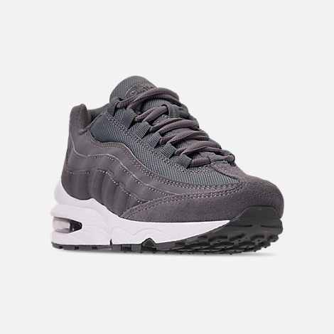 Three Quarter view of Boys' Big Kids' Nike Air Max 95 PE Casual Shoes in Cool Grey/Dark Grey/Pale Ivory