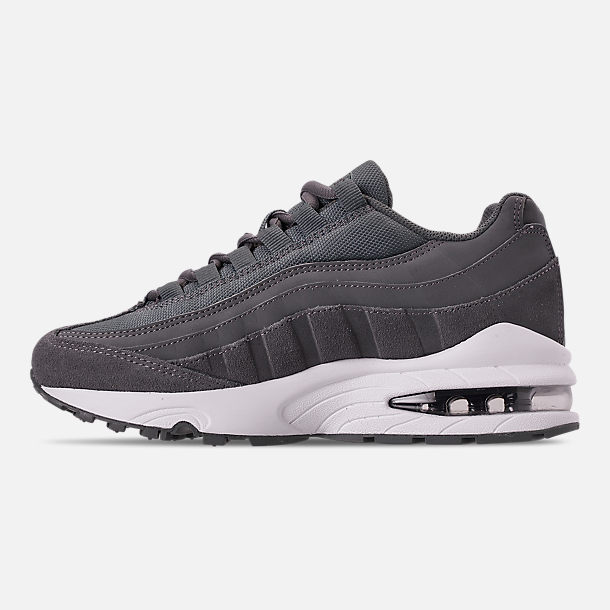 Left view of Boys' Big Kids' Nike Air Max 95 PE Casual Shoes in Cool Grey/Dark Grey/Pale Ivory